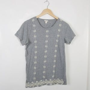 J. Crew Heather Grey Embroidered T-Shirt Small